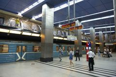 Free MOSCOW, AUG, 22, 2017: Two Levels Floors Metro Station Business Center, Blue Train And Train Waiting People. Passengers On Railway Royalty Free Stock Photography - 116912057