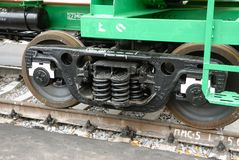 MOSCOW, AUG, 20, 2007: Close up shot of black color Russian new freight car bogie 25 tons per axle with adapter instead axle Royalty Free Stock Image