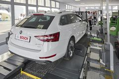 MOSCOW, AUG. 22, 2017: Exhibition stand car maintenance and diagnostic equipment devices tools. Wheel alignment equipment. Car mai. Ntenance repair diagnostic Stock Photography