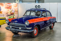 MOSCOW - AUG 2016: GAZ-21 militia police presented at MIAS Moscow International Automobile Salon on August 20, 2016 in Moscow, Rus Royalty Free Stock Photos
