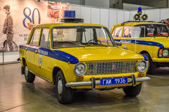 MOSCOW - AUG 2016: LADA VAZ 2101 militia police GAI presented at MIAS Moscow International Automobile Salon on August 20, 2016 in Stock Image