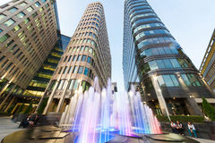 Fountain on background of Office Center White Square Stock Images