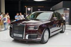 MOSCOW, AUG.31, 2018: New all wheel drive powerful Russian luxury car Aurus Senat on automotive exhibition MMAC 2018. Executive ca stock image
