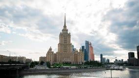 MOSCOW - AUG 28: timelapse Novoarbatsky Bridge and Hotel Ukraina in Moscow. MOSCOW - AUG 28: timelapse shot of Novoarbatsky Bridge and Hotel Ukraina on Aug 28 stock footage