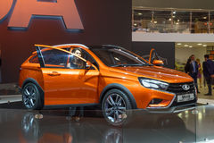 MOSCOW - AUG 2016: VAZ LADA Vesta Cross Concept presented at MIAS Moscow International Automobile Salon on August 20, 2016 in Mosc Stock Images
