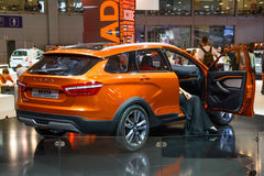 MOSCOW - AUG 2016: VAZ LADA Vesta Cross Concept presented at MIAS Moscow International Automobile Salon on August 20, 2016 in Mosc Royalty Free Stock Images