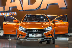 MOSCOW - AUG 2016: VAZ LADA Vesta Cross Concept presented at MIAS Moscow International Automobile Salon on August 20, 2016 in Mosc Royalty Free Stock Photography