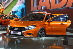 MOSCOW - AUG 2016: VAZ LADA Vesta Cross Concept presented at MIAS Moscow International Automobile Salon on August 20, 2016 in Mosc Stock Photography