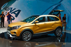 MOSCOW - AUG 2016: VAZ LADA XRay Cross Concept presented at MIAS Moscow International Automobile Salon on August 20, 2016 in Mosco Royalty Free Stock Image