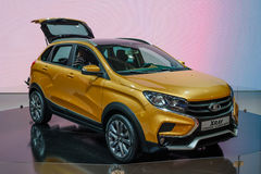 MOSCOW - AUG 2016: VAZ LADA XRay Cross Concept presented at MIAS Moscow International Automobile Salon on August 20, 2016 in Mosco Royalty Free Stock Images