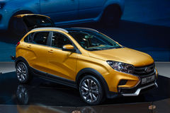 MOSCOW - AUG 2016: VAZ LADA XRay Cross Concept presented at MIAS Moscow International Automobile Salon on August 20, 2016 in Mosco Royalty Free Stock Photos