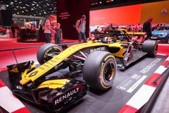 MOSCOW, AUG.31, 2018: View on Formula One race car of Renault team on exhibition stand on MMAC 2018. Automobile show of luxury and royalty free stock photography