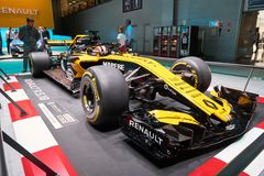 MOSCOW, AUG.31, 2018: View on Formula One race car of Renault team on exhibition stand on MMAC 2018. Automobile show of luxury and stock image