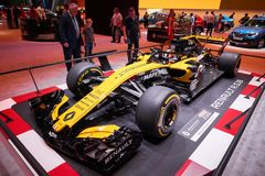 MOSCOW, AUG.31, 2018: View on Formula One race car of Renault team on exhibition stand on MMAC 2018. Automobile show of luxury and stock images
