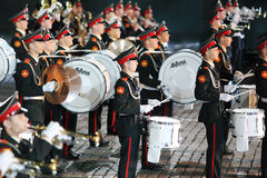 Drummers of orchestra of Moscow Suvorov Military Music College Stock Images