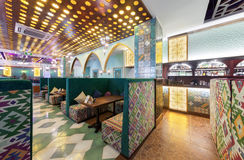 MOSCOW - AUGUST 2014: Interior Asian restaurant Royalty Free Stock Photo