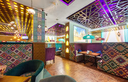 MOSCOW - AUGUST 2014: Interior Asian restaurant Royalty Free Stock Photos