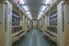 Moscow - 04 august 2018: Interior of the empty carriage in moscow subway royalty free stock photos
