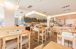 MOSCOW - AUGUST 2014: Interior of the international network of Italian home-cooked restaurants - Royalty Free Stock Photo