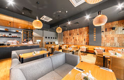 MOSCOW - AUGUST 2014: Interior of a Japanese restaurant bar and lounge. `KABUKI`. Modern and stylish design of the hall Royalty Free Stock Image