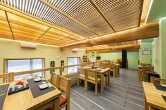 MOSCOW - AUGUST 2014: Interior of the Japanese restaurant Royalty Free Stock Images