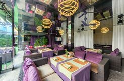 MOSCOW - AUGUST 2014: Interior is luxurious and fine dining restaurant Royalty Free Stock Photos