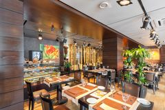 MOSCOW - AUGUST 2014: Interior is luxurious and fine dining restaurant Stock Photos
