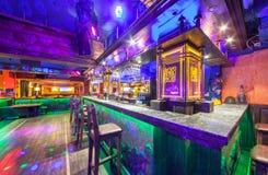 MOSCOW - AUGUST 2014: Interior of the Mexican nightclub restaurant. `SOMBRERO`. Bar counter nightclub near the dance floor royalty free stock photos