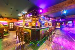 MOSCOW - AUGUST 2014: Interior of the Mexican nightclub restaurant. `SOMBRERO`. Bar nightclub near the dance floor stock photography