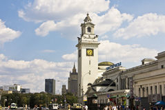 Moscow. AUGUST 14, 2010: Kievsky railway station, has been built in 1918 year Royalty Free Stock Image