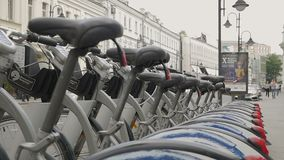 Rows of rental bikes in Moscow stock video