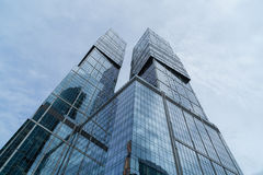 MOSCOW - AUGUST 21, 2016: Vertical view looking up at skyscrapers in Moscow city on August 21, 2016 in Moscow, Russia Stock Photo