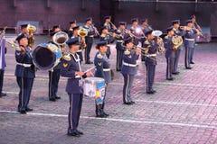 Orkester av flygvapen av Grekland på den militära musikfestivalen Arkivbilder