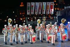 Orkester av Frankrike den utländska legionen på den militära musikfestivalen Royaltyfri Foto