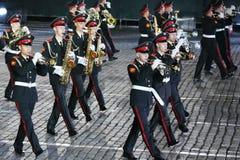 Orkester av Moscow Suvorov den militära musikhögskolan på den militära musikfestivalen Arkivbild