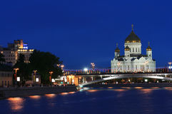 Moscow background. The Cathedral of Christ the Savior at evening (Moscow, Russia Royalty Free Stock Photos