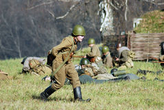 Moscow battle historical reenactment Royalty Free Stock Images