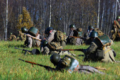Moscow battle historical reenactment Stock Images