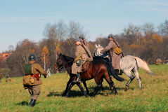 Moscow battle historical reenactment scene Stock Photo