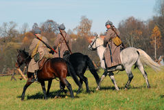 Moscow battle historical reenactment. Three horse riders. Stock Image