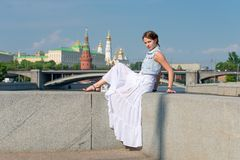 Moscow and beautiful girl Royalty Free Stock Images