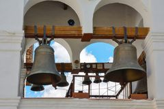 Moscow, bell tower of the Cathedral in the Sretensky monastery Royalty Free Stock Photo