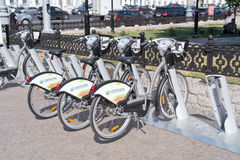Moscow. Bicycle Rental Royalty Free Stock Images