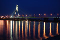 Moscow bridge across Dnepr river. Kiev,Ukraine Royalty Free Stock Image