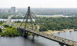 Moscow bridge in Kiev. Moscow bridge across the Dnieper River, which connects the left and right banks of Kiev Stock Photos