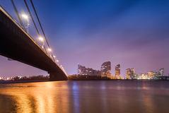 Moscow bridge in Kiev at night. Kiev skyline Royalty Free Stock Photos