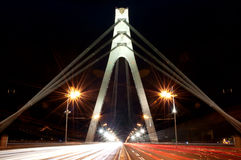 Moscow bridge, Kiev, Ukraine. Traffic on Moscow Bridge At Night, Long Exposure Royalty Free Stock Image