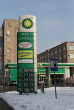 Moscow. The British Petroleum fuelling station. Near Butyrskaya street. A table with price Stock Photos