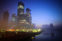 Moscow business center at night Royalty Free Stock Photos