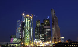 Moscow Business Center at night Stock Photos